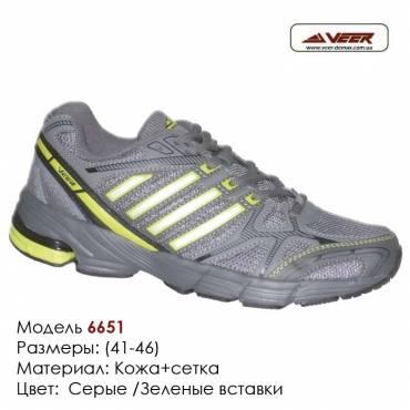 Кроссовки Veer 41-46 сетка - 6651 т.серые, зеленые вставки. Купить кроссовки в Одессе.