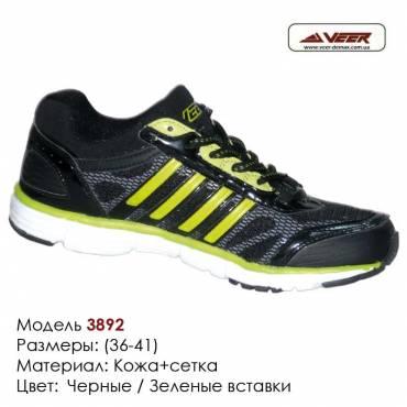 Кроссовки Veer сетка - 3892 черные, зеленые вставки. Купить кроссовки в Одессе.