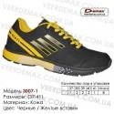 Купить спортивную обувь, кожа, кроссовки Demax - 3007-1 черные | желтые