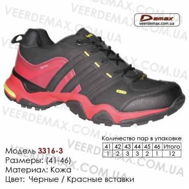 Купить спортивную обувь, кожа, кроссовки Demax 41-46 - 3316-3 черные | красные