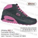 Купить спортивную обувь кожа зима мех, кроссовки Demax - 3321-1 черные | розовые