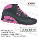 Купить спортивную обувь кожа зима мех, кроссовки Demax - 3321-1 черные   розовые