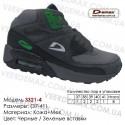 Купить спортивную обувь кожа зима мех, кроссовки Demax - 3321-4 черные   зеленые