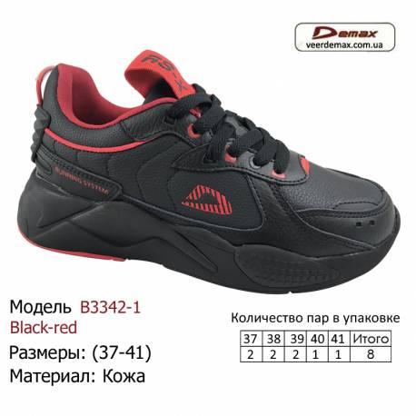 Кроссовки Demax 37-41 кожа - B3342-1 черно-красные